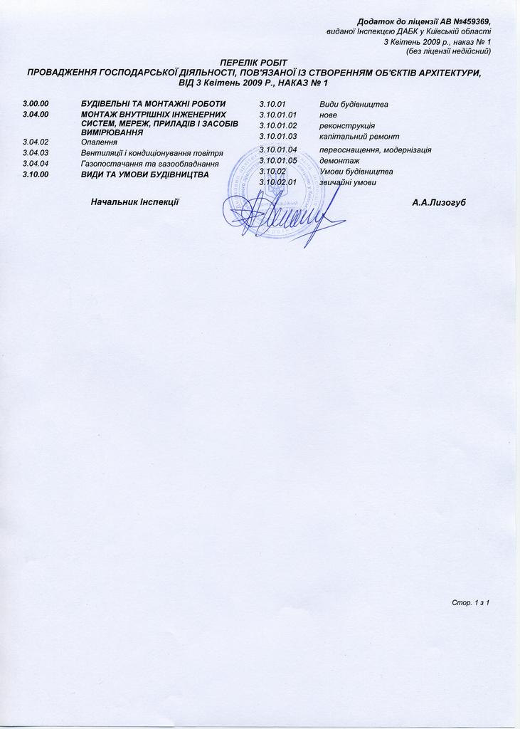 """ЧП """"Мамека"""" Перечень видов работ разрешенных лицензией"""
